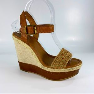 Lucky Brand LK-Clancy Leather Fabric Wedges 7.5